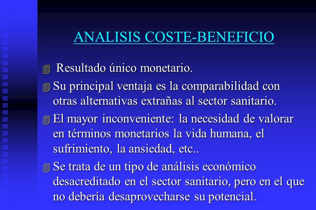 ANALISIS COSTE-BENEFICIO 4 Resultado único monetario. 4 Su principal ventaja es la comparabilidad con otras alternativas extrañas al sector sanitario.