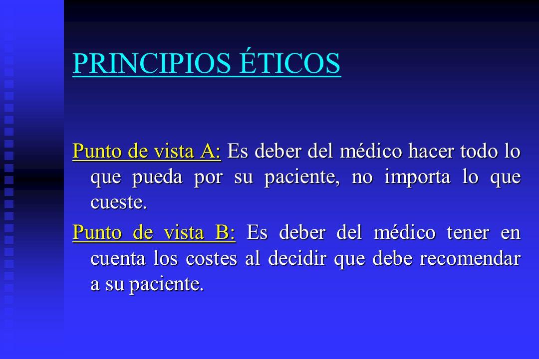 PRINCIPIOS ÉTICOS Punto de vista A: A: Es deber del médico hacer todo lo que pueda por su paciente, no importa lo que cueste. Punto de vista B: B: Es
