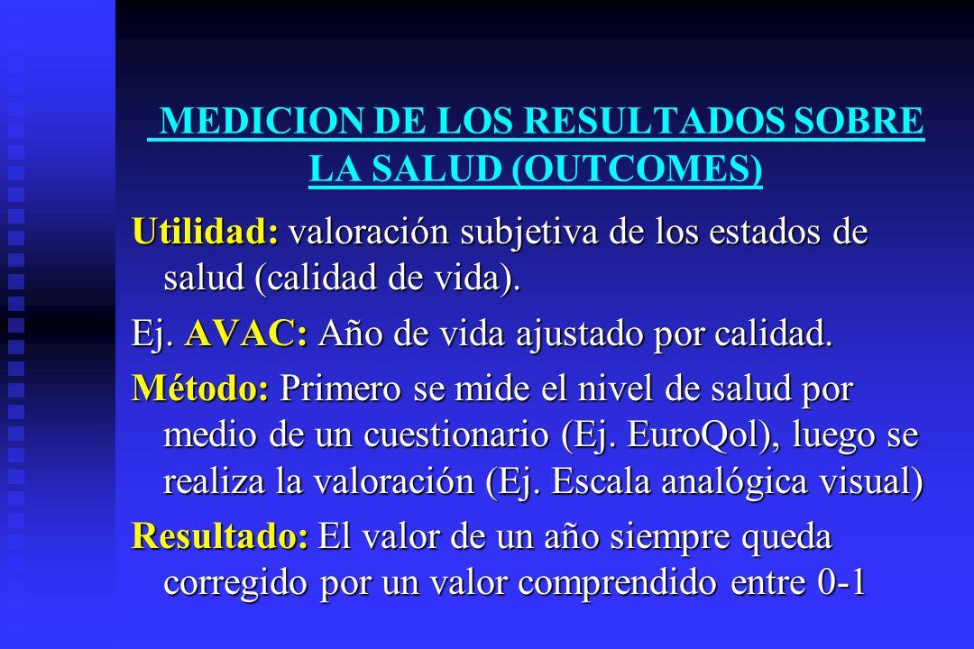 MEDICION DE LOS RESULTADOS SOBRE LA SALUD (OUTCOMES) Utilidad: Utilidad: valoración subjetiva de los estados de salud (calidad de vida). Ej. AVAC: AVA