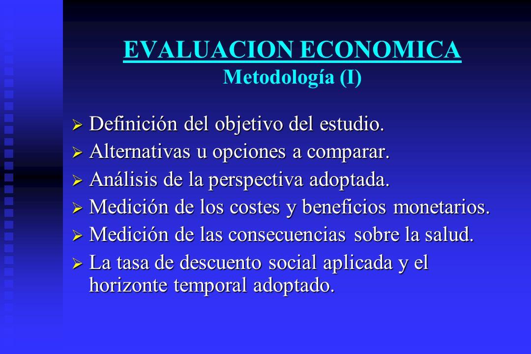 EVALUACION ECONOMICA Metodología (I) Definición del objetivo del estudio. Definición del objetivo del estudio. Alternativas u opciones a comparar. Alt