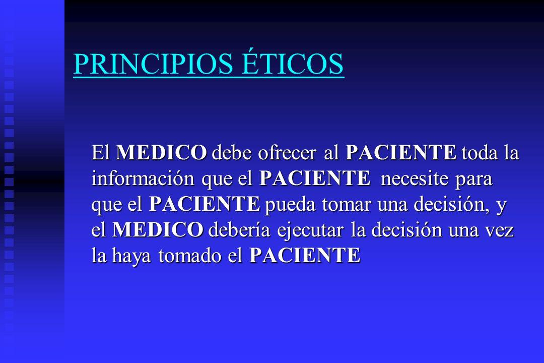 PRINCIPIOS ÉTICOS El PACIENTE PACIENTE debe ofrecer al MEDICO toda la información que el MEDICO necesite para que el MEDICO pueda tomar una decisión, y el debería ejecutar la decisión una vez la haya tomado el MEDICO