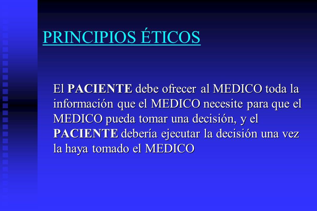 PRINCIPIOS ÉTICOS El MEDICO no es un contratado perfecto sino que establece una relación de agencia con el paciente.
