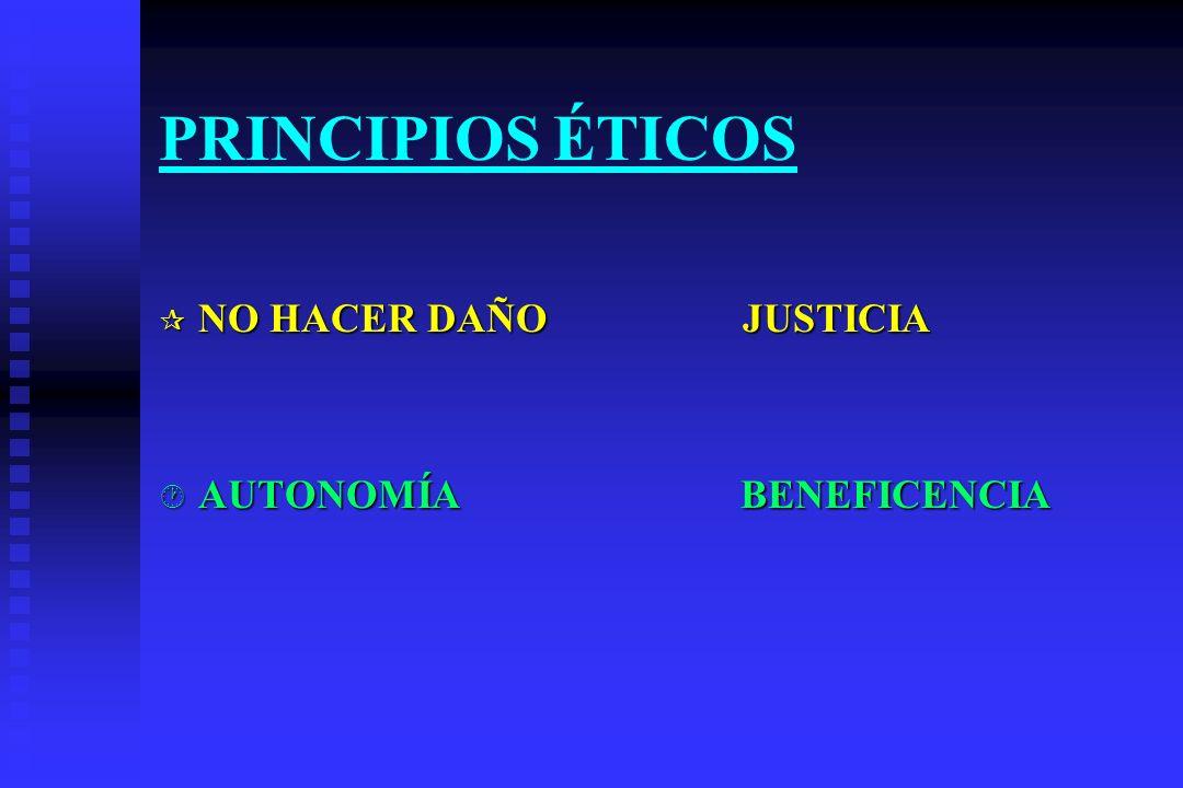 ¶ NO HACER DAÑO JUSTICIA · AUTONOMÍA BENEFICENCIA