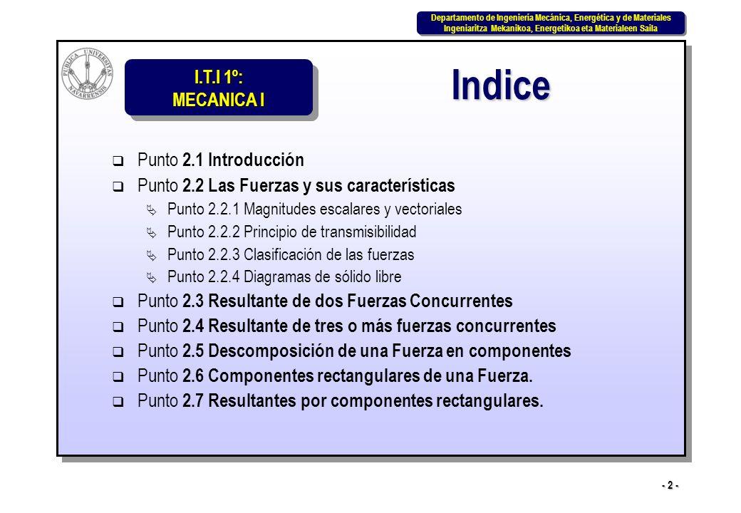 I.T.I 1º: MECANICA I Departamento de Ingeniería Mecánica, Energética y de Materiales Ingeniaritza Mekanikoa, Energetikoa eta Materialeen Saila Departamento de Ingeniería Mecánica, Energética y de Materiales Ingeniaritza Mekanikoa, Energetikoa eta Materialeen Saila - 13 - Los métodos gráficos exigen un dibujo a escala preciso si se quieren obtener resultados precisos.