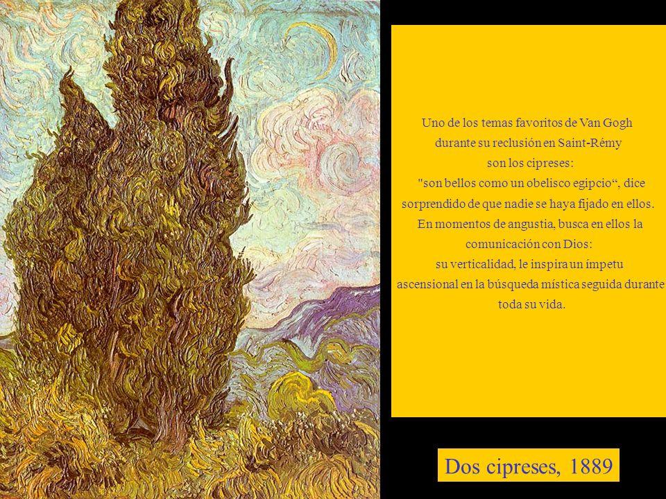 Uno de los temas favoritos de Van Gogh durante su reclusión en Saint-Rémy son los cipreses: