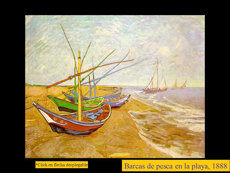Barcas de pesca en la playa, 1888 *Click en flecha desplegable