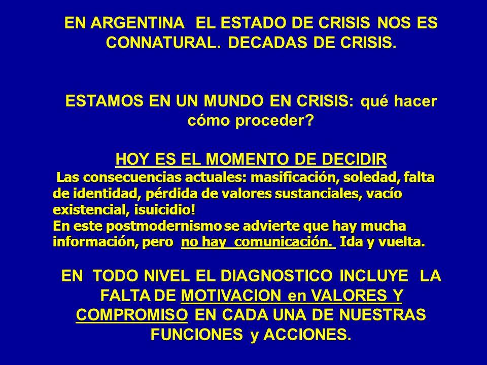 EN ARGENTINA EL ESTADO DE CRISIS NOS ES CONNATURAL. DECADAS DE CRISIS. ESTAMOS EN UN MUNDO EN CRISIS: qué hacer cómo proceder? HOY ES EL MOMENTO DE DE