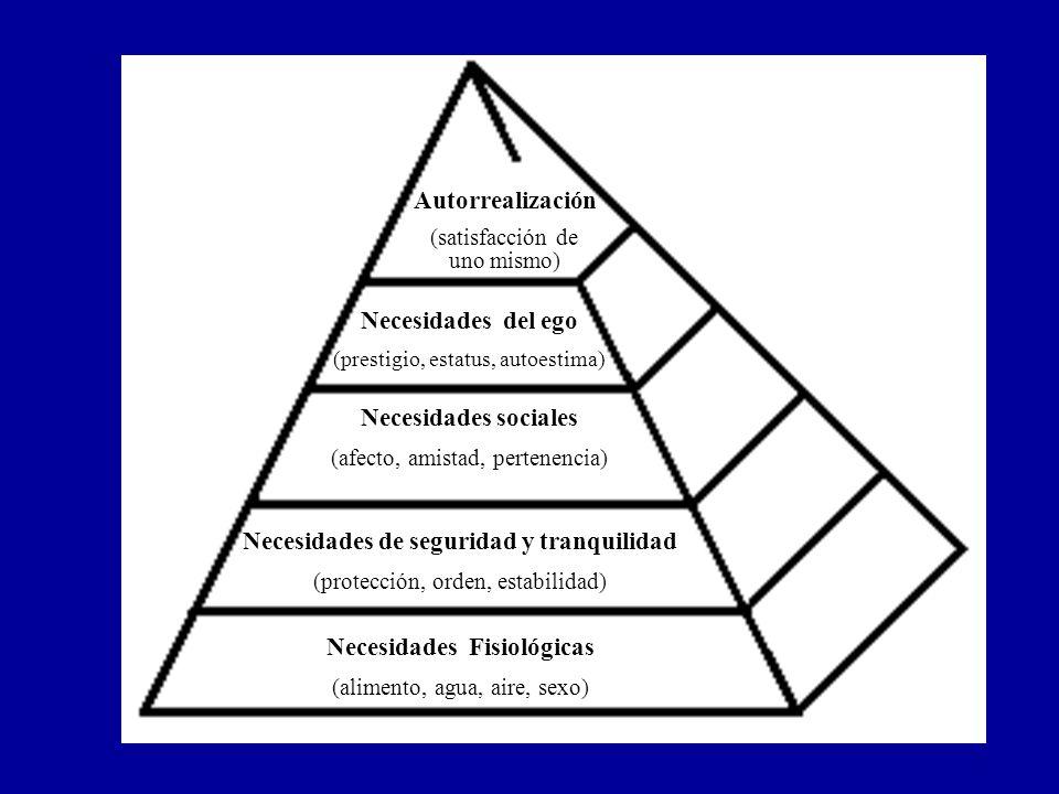Necesidades Fisiológicas (alimento, agua, aire, sexo) Necesidades de seguridad y tranquilidad (protección, orden, estabilidad) Necesidades sociales (a