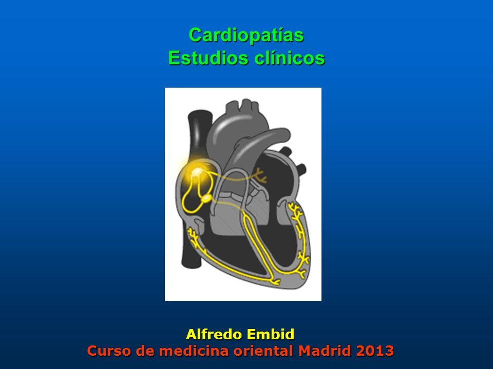 2 Análisis de 26 estudios clínicos controlados y randomizados tratados con acupuntura sobre: Insuficiencia cardiaca (4) Coronariopatías (22): Infarto de miocardio.