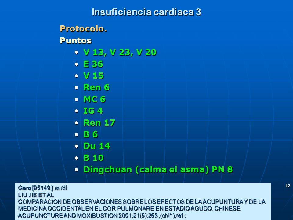 12 Insuficiencia cardiaca 3 Protocolo.Puntos V 13, V 23, V 20V 13, V 23, V 20 E 36E 36 V 15V 15 Ren 6Ren 6 MC 6MC 6 IG 4IG 4 Ren 17Ren 17 B 6B 6 Du 14