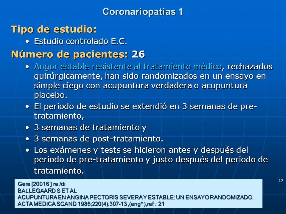 17 Coronariopatías 1 Tipo de estudio: Estudio controlado E.C.Estudio controlado E.C. Número de pacientes: 26 Angor estable resistente al tratamiento m