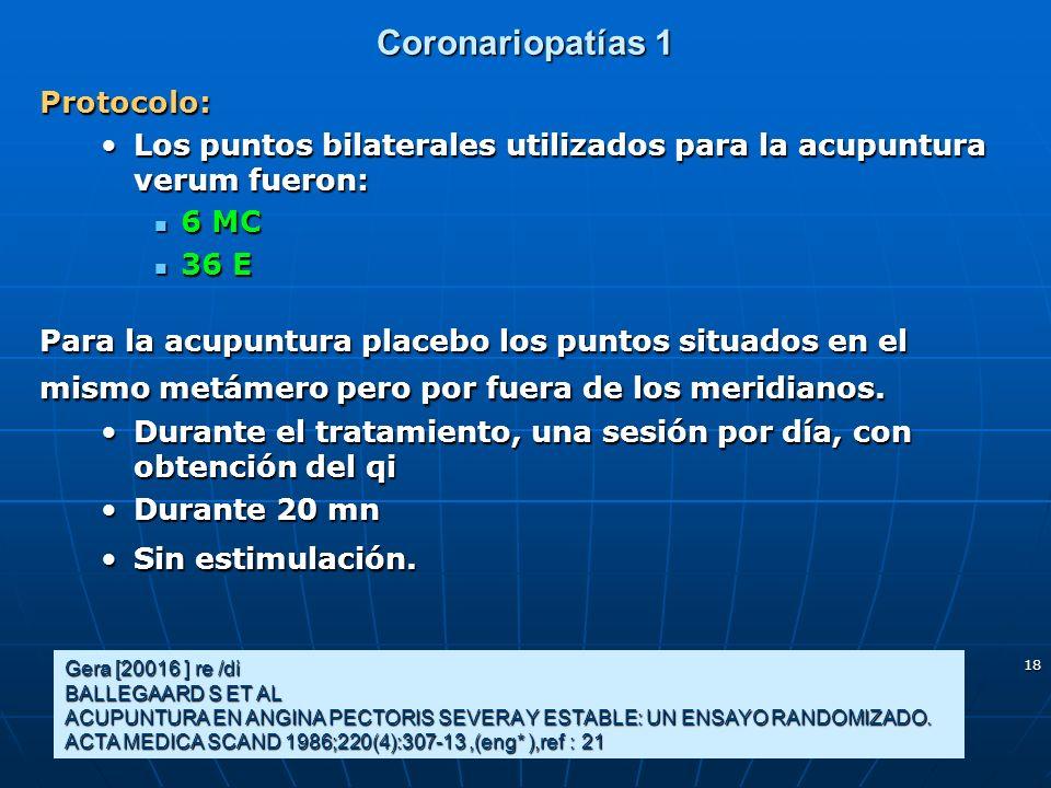 18 Coronariopatías 1 Protocolo: Los puntos bilaterales utilizados para la acupuntura verum fueron:Los puntos bilaterales utilizados para la acupuntura