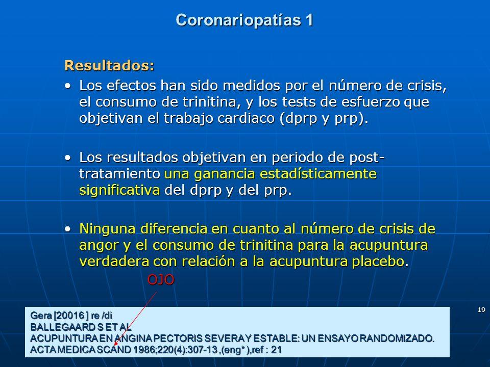 19 Coronariopatías 1 Resultados: Los efectos han sido medidos por el número de crisis, el consumo de trinitina, y los tests de esfuerzo que objetivan