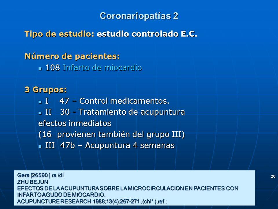 20 Coronariopatías 2 Tipo de estudio: estudio controlado E.C. Número de pacientes: 108 Infarto de miocardio 108 Infarto de miocardio 3 Grupos: I 47 –
