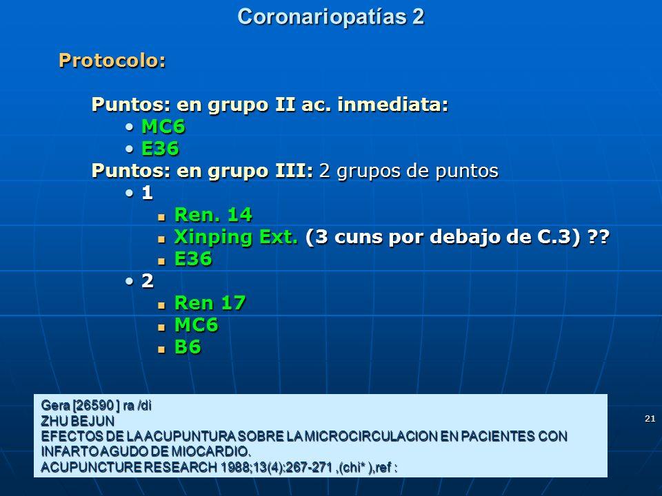 21 Coronariopatías 2 Protocolo: Puntos: en grupo II ac. inmediata: MC6MC6 E36E36 Puntos: en grupo III: 2 grupos de puntos 1 Ren. 14 Ren. 14 Xinping Ex