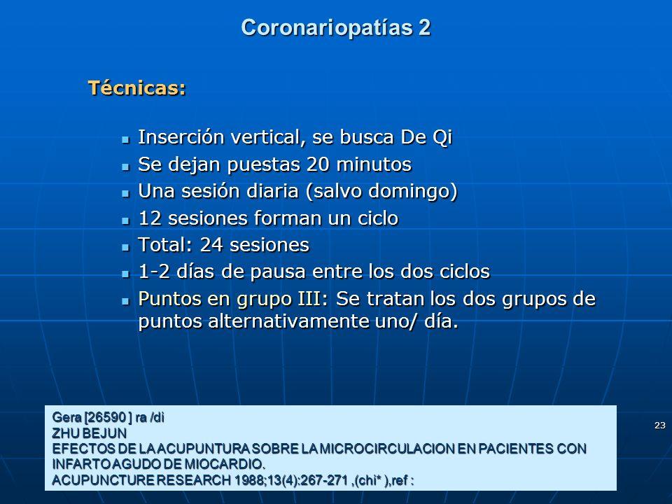 23 Coronariopatías 2 Técnicas: Inserción vertical, se busca De Qi Inserción vertical, se busca De Qi Se dejan puestas 20 minutos Se dejan puestas 20 m