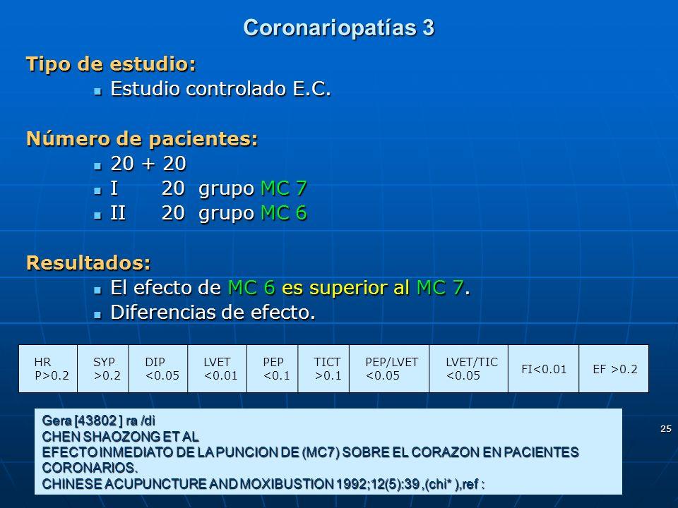 Coronariopatías 3 Tipo de estudio: Estudio controlado E.C. Estudio controlado E.C. Número de pacientes: 20 + 20 20 + 20 I20 grupo MC 7 I20 grupo MC 7