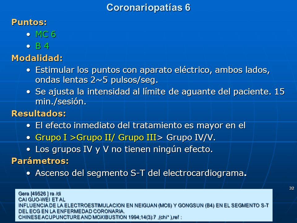 32 Coronariopatías 6 Puntos: MC 6MC 6 B 4B 4Modalidad: Estimular los puntos con aparato eléctrico, ambos lados, ondas lentas 2~5 pulsos/seg.Estimular