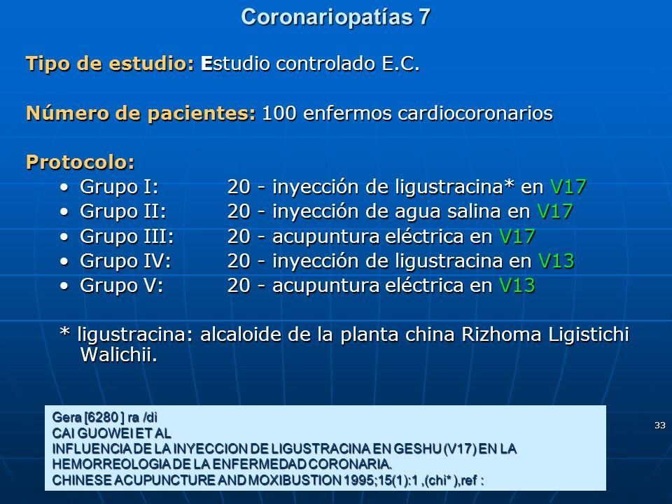 33 Coronariopatías 7 Tipo de estudio: Estudio controlado E.C. Número de pacientes: 100 enfermos cardiocoronarios Protocolo: Grupo I:20 - inyección de
