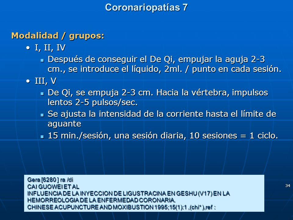 34 Coronariopatías 7 Modalidad / grupos: I, II, IVI, II, IV Después de conseguir el De Qi, empujar la aguja 2-3 cm., se introduce el líquido, 2ml. / p
