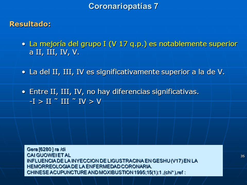 35 Coronariopatías 7 Resultado: La mejoría del grupo I (V 17 q.p.) es notablemente superior a II, III, IV, V.La mejoría del grupo I (V 17 q.p.) es not