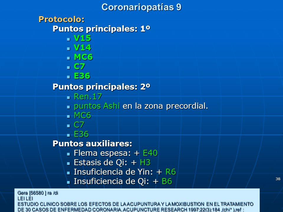 38 Coronariopatías 9 Gera [56580 ] ra /di LEI LEI ESTUDIO CLINICO SOBRE LOS EFECTOS DE LA ACUPUNTURA Y LA MOXIBUSTION EN EL TRATAMIENTO DE 30 CASOS DE