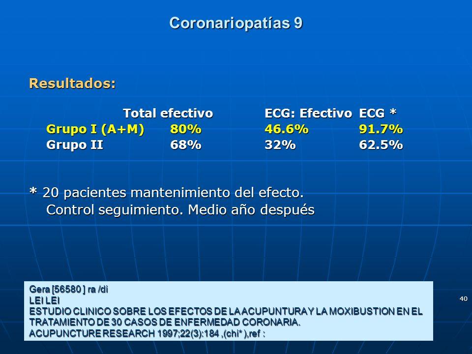 40 Coronariopatías 9 Gera [56580 ] ra /di LEI LEI ESTUDIO CLINICO SOBRE LOS EFECTOS DE LA ACUPUNTURA Y LA MOXIBUSTION EN EL TRATAMIENTO DE 30 CASOS DE
