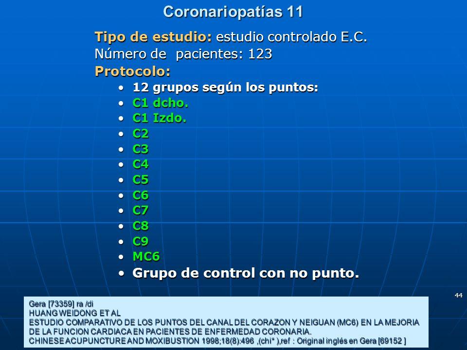 44 Coronariopatías 11 Gera [73359] ra /di HUANG WEIDONG ET AL ESTUDIO COMPARATIVO DE LOS PUNTOS DEL CANAL DEL CORAZON Y NEIGUAN (MC6) EN LA MEJORIA DE