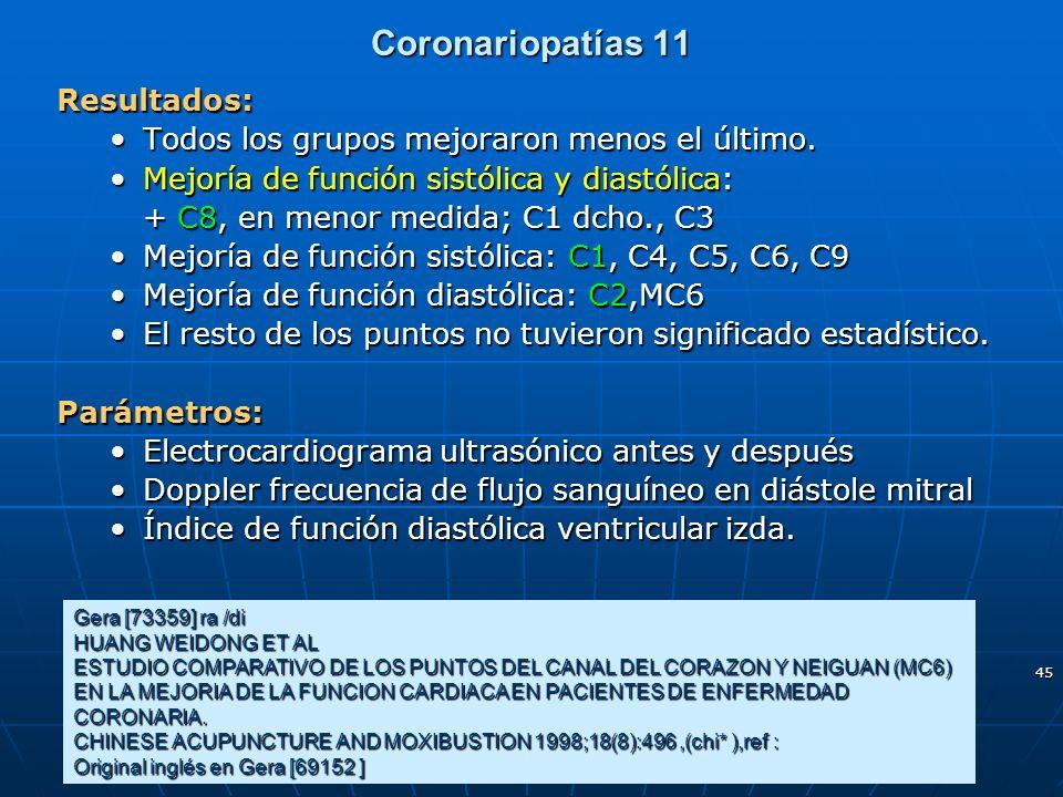 45 Coronariopatías 11 Gera [73359] ra /di HUANG WEIDONG ET AL ESTUDIO COMPARATIVO DE LOS PUNTOS DEL CANAL DEL CORAZON Y NEIGUAN (MC6) EN LA MEJORIA DE