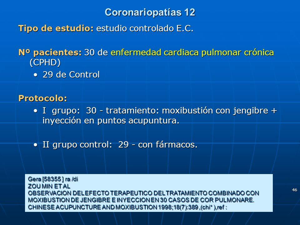 46 Coronariopatías 12 Gera [58355 ] ra /di ZOU MIN ET AL OBSERVACION DEL EFECTO TERAPEUTICO DEL TRATAMIENTO COMBINADO CON MOXIBUSTION DE JENGIBRE E IN