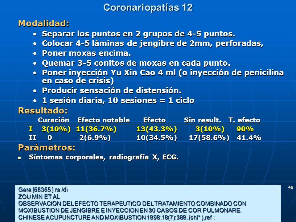 48 Coronariopatías 12 Gera [58355 ] ra /di ZOU MIN ET AL OBSERVACION DEL EFECTO TERAPEUTICO DEL TRATAMIENTO COMBINADO CON MOXIBUSTION DE JENGIBRE E IN