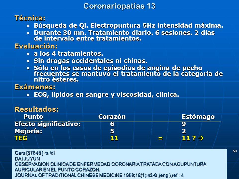 50 Coronariopatías 13 Gera [57848 ] ra /di DAI JUYUN OBSERVACION CLINICA DE ENFERMEDAD CORONARIA TRATADA CON ACUPUNTURA AURICULAR EN EL PUNTO CORAZON.