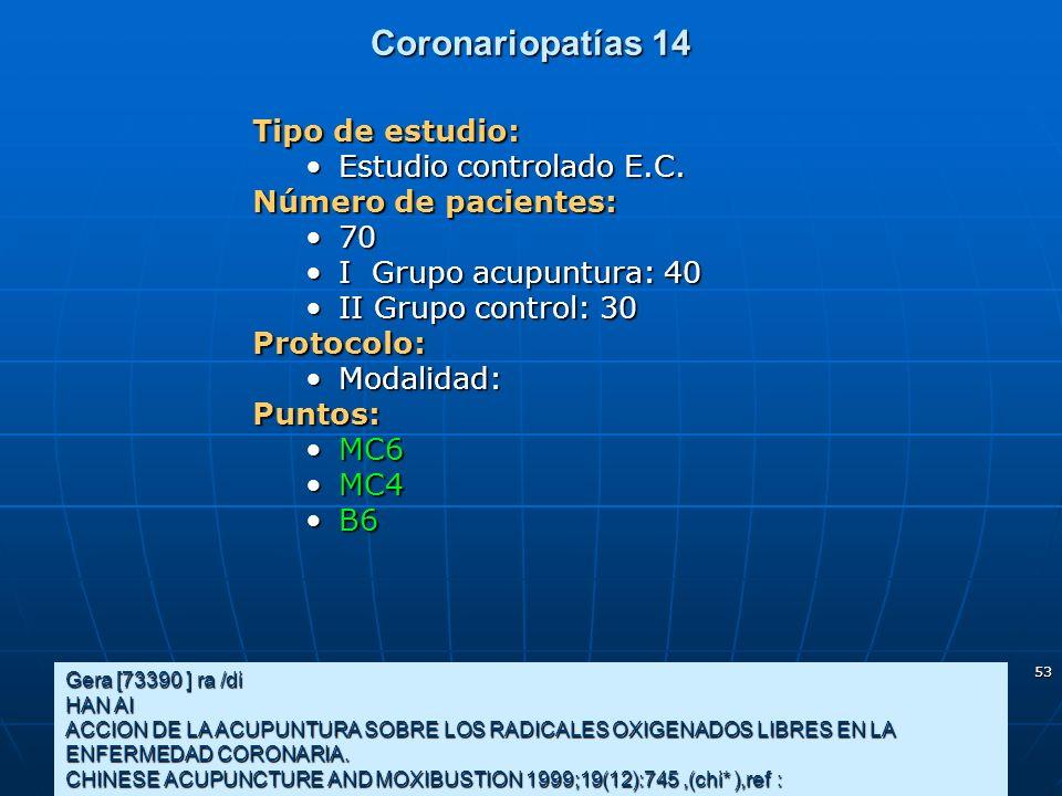 53 Coronariopatías 14 Gera [73390 ] ra /di HAN AI ACCION DE LA ACUPUNTURA SOBRE LOS RADICALES OXIGENADOS LIBRES EN LA ENFERMEDAD CORONARIA. CHINESE AC