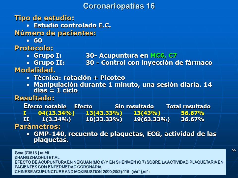 56 Coronariopatías 16 Gera [73515 ] ra /di ZHANG ZHAOHUI ET AL EFECTO DE ACUPUNTURA EN NEIGUAN (MC 6) Y EN SHENMEN (C 7) SOBRE LA ACTIVIDAD PLAQUETARI