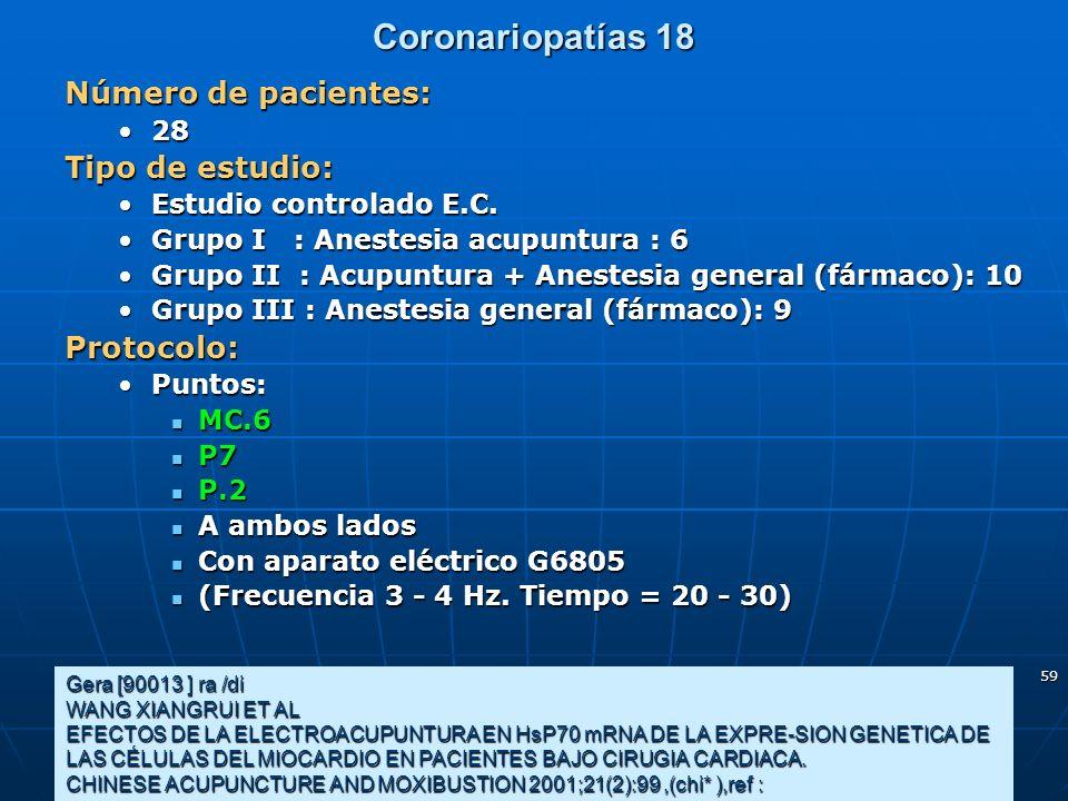 59 Coronariopatías 18 Gera [90013 ] ra /di WANG XIANGRUI ET AL EFECTOS DE LA ELECTROACUPUNTURA EN HsP70 mRNA DE LA EXPRE-SION GENETICA DE LAS CÉLULAS