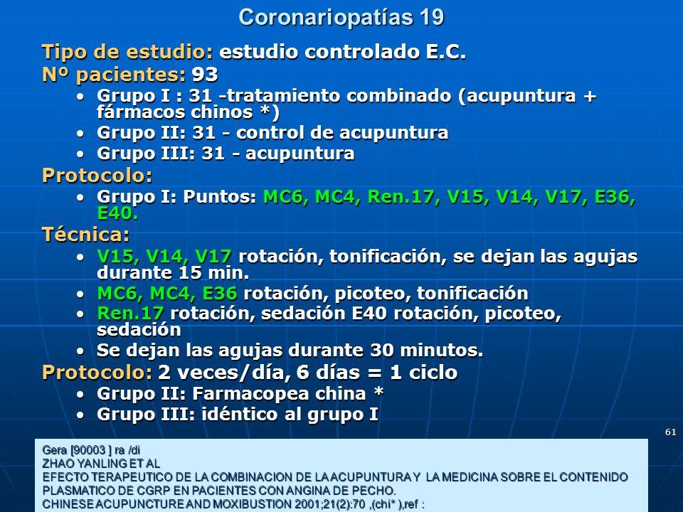61 Coronariopatías 19 Gera [90003 ] ra /di ZHAO YANLING ET AL EFECTO TERAPEUTICO DE LA COMBINACION DE LA ACUPUNTURA Y LA MEDICINA SOBRE EL CONTENIDO P