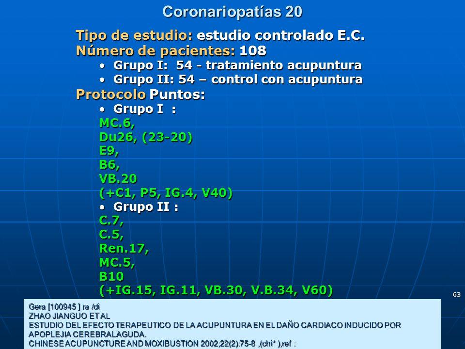 63 Coronariopatías 20 Gera [100945 ] ra /di ZHAO JIANGUO ET AL ESTUDIO DEL EFECTO TERAPEUTICO DE LA ACUPUNTURA EN EL DAÑO CARDIACO INDUCIDO POR APOPLE