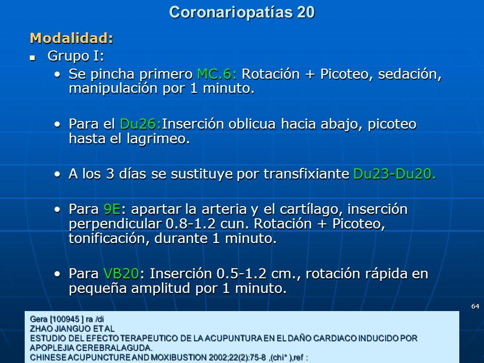 64 Coronariopatías 20 Gera [100945 ] ra /di ZHAO JIANGUO ET AL ESTUDIO DEL EFECTO TERAPEUTICO DE LA ACUPUNTURA EN EL DAÑO CARDIACO INDUCIDO POR APOPLE