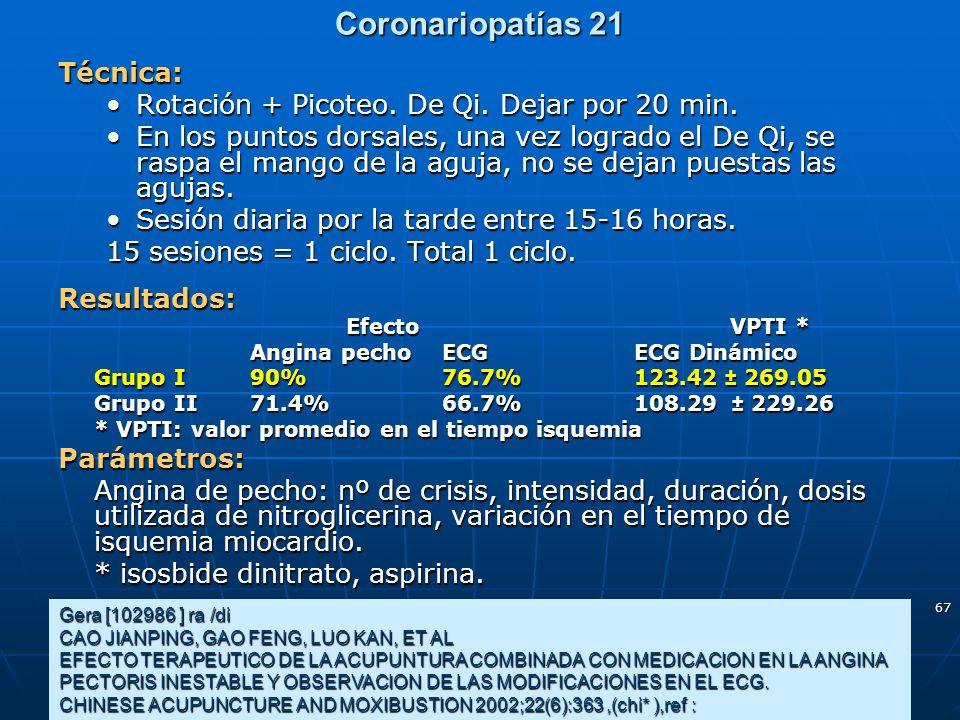 67 Coronariopatías 21 Gera [102986 ] ra /di CAO JIANPING, GAO FENG, LUO KAN, ET AL EFECTO TERAPEUTICO DE LA ACUPUNTURA COMBINADA CON MEDICACION EN LA