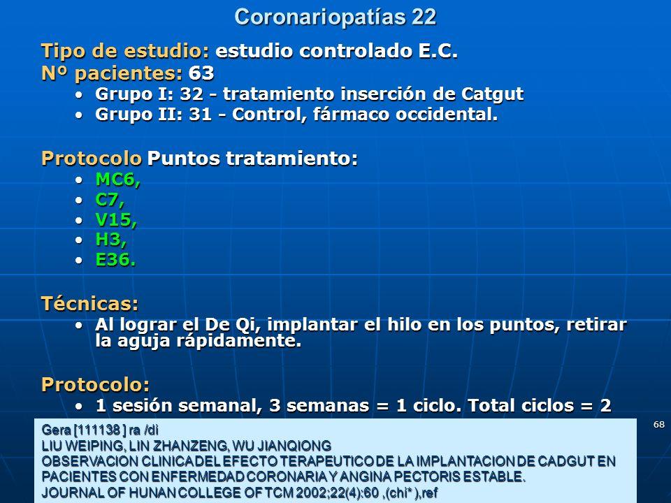 68 Coronariopatías 22 Gera [111138 ] ra /di LIU WEIPING, LIN ZHANZENG, WU JIANQIONG OBSERVACION CLINICA DEL EFECTO TERAPEUTICO DE LA IMPLANTACION DE C