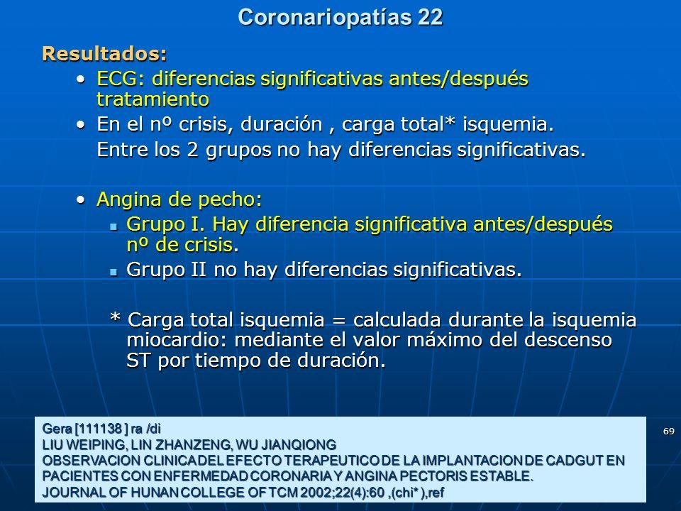 69 Coronariopatías 22 Gera [111138 ] ra /di LIU WEIPING, LIN ZHANZENG, WU JIANQIONG OBSERVACION CLINICA DEL EFECTO TERAPEUTICO DE LA IMPLANTACION DE C
