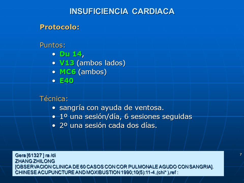 18 Coronariopatías 1 Protocolo: Los puntos bilaterales utilizados para la acupuntura verum fueron:Los puntos bilaterales utilizados para la acupuntura verum fueron: 6 MC 6 MC 36 E 36 E Para la acupuntura placebo los puntos situados en el mismo metámero pero por fuera de los meridianos.