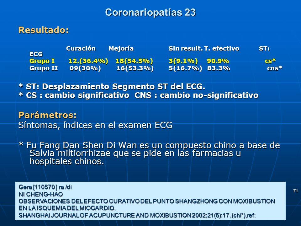71 Coronariopatías 23 Gera [110570 ] ra /di NI CHENG-HAO OBSERVACIONES DEL EFECTO CURATIVO DEL PUNTO SHANGZHONG CON MOXIBUSTION EN LA ISQUEMIA DEL MIO