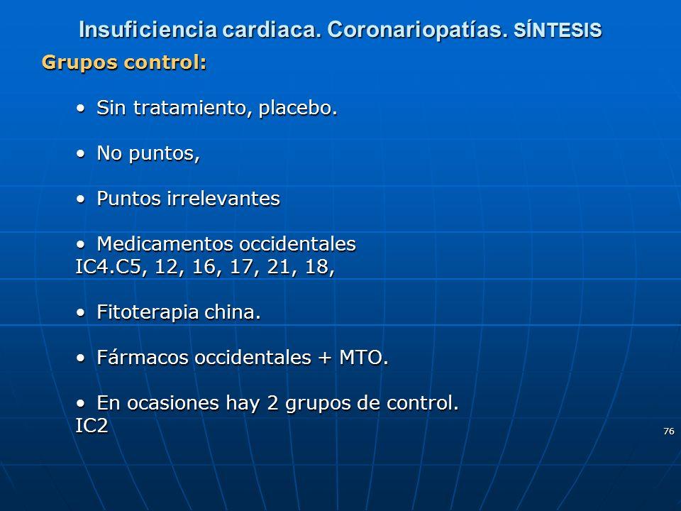 76 Insuficiencia cardiaca. Coronariopatías. SÍNTESIS Grupos control: Sin tratamiento, placebo.Sin tratamiento, placebo. No puntos,No puntos, Puntos ir