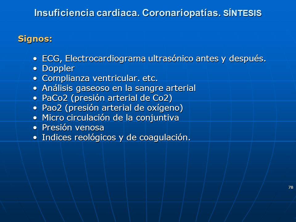 78 Insuficiencia cardiaca. Coronariopatías. SÍNTESIS Signos: ECG, Electrocardiograma ultrasónico antes y después.ECG, Electrocardiograma ultrasónico a