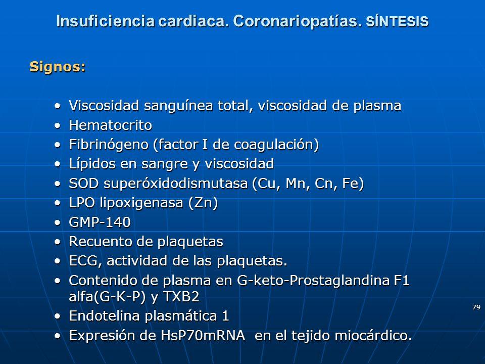 79 Insuficiencia cardiaca. Coronariopatías. SÍNTESIS Signos: Viscosidad sanguínea total, viscosidad de plasmaViscosidad sanguínea total, viscosidad de