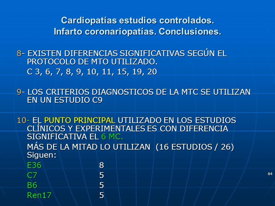 84 Cardiopatías estudios controlados. Infarto coronariopatías. Conclusiones. 8- EXISTEN DIFERENCIAS SIGNIFICATIVAS SEGÚN EL PROTOCOLO DE MTO UTILIZADO