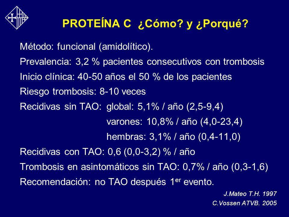 PROTEÍNA C ¿Cómo? y ¿Porqué? Método: funcional (amidolítico). Prevalencia: 3,2 % pacientes consecutivos con trombosis Inicio clínica: 40-50 años el 50