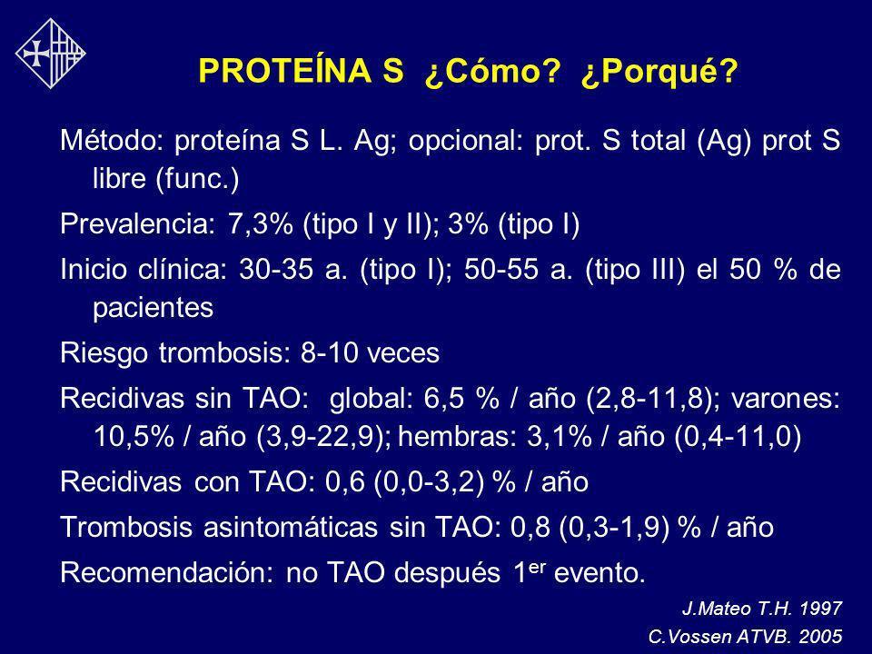 PROTEÍNA S ¿Cómo? ¿Porqué? Método: proteína S L. Ag; opcional: prot. S total (Ag) prot S libre (func.) Prevalencia: 7,3% (tipo I y II); 3% (tipo I) In