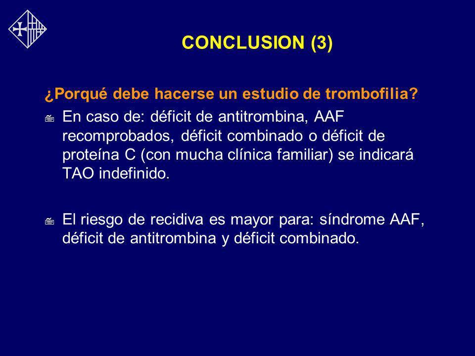 CONCLUSION (3) ¿Porqué debe hacerse un estudio de trombofilia? 7 En caso de: déficit de antitrombina, AAF recomprobados, déficit combinado o déficit d